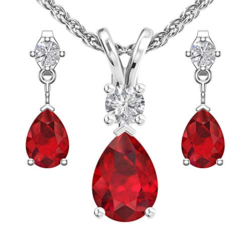 Sterling Silver Jewelry Set for Women Lab-Grown Pear shaped 7x5mm Ruby and 3mm Natural White Topaz Pendant Necklace and Matching Pear Shaped Ruby & White Topaz Stud Earrings