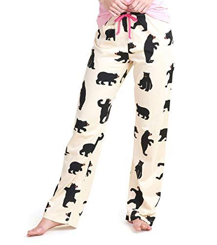 Hatley Women's Bear Pyjamas, Pantalón de Pijama para Mujer - Osos Negros sobre Natural, XS para Hombre