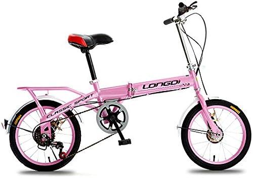 QARYYQ Klappfürrad 20 Zoll Erwachsenenfürrad Speed  hock Absorber für M er und Frauen fürradrahmen aus Kohlenstoffstahl, SchwarzRosa Kinderfürrad (Farbe   Rosa)
