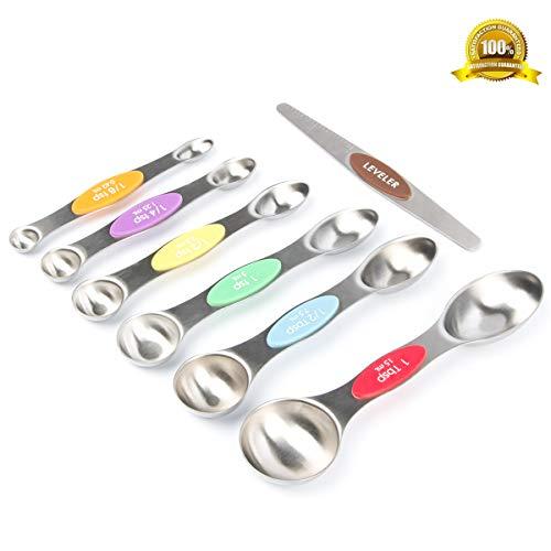 Ear&Ear Messlöffel, doppelseitig, mit Nivellierer, magnetisches Set, Küchenmesslöffel, doppelseitig, stapelbar, für trockene und flüssige Messlöffel aus Edelstahl