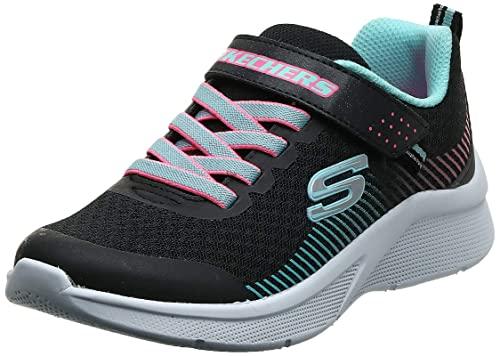 Skechers Microspec, Zapatillas, Negro Black Mesh Aqua Neon Pink Trim Bkaq, 36 EU
