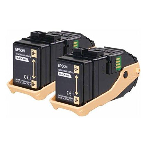 Set de Ahorro de tóner original Epson 605/Epson Aculaser C 9300Series/C13S050609–Set de Ahorro de tóner negro para 2x 6.500Páginas–2Unidades