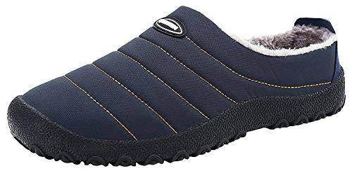 ChayChax Zapatillas de Estar por Casa Hombre Mujer Invierno Pantuflas Cálidas con Pelusa Forro Zapatos para Exterior e Interior Impermeable Antideslizante, Azul Oscuro, 35 EU