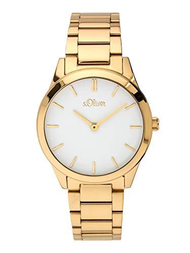 s.Oliver Damen Analog Quarz Armbanduhr mit Edelstahl Armband