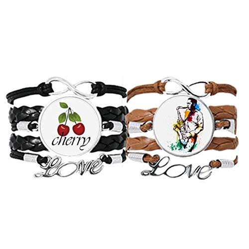Bestchong Acuarela Calle Hombre Rock Music Pintura Pulsera Correa de mano Cuerda de cuero Cherry Love Wristband Set doble