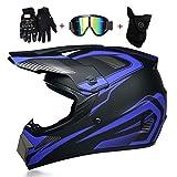 OUTLL Erwachsene ATV Moto-Cross Helm Set, Volles Gesicht Offroad MTB DH Strand Rennen Helm Bergab Quad Fahrrad Absturz Helm, DOT Zertifiziert Unisex Rundum Helm, Mit Schutzbrillen Handschuhe Maske