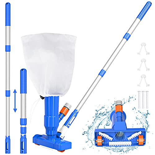 """YEECHUN Upgraded 40"""" Portable Pool Spa Pond Mini Jet Underwater Vacuum Cleaner with Adjustable 3 Piece Expandable Step-Up Thicken Telescopic Pole,Brush,Bag, Universal Fit Handle-Attaches"""