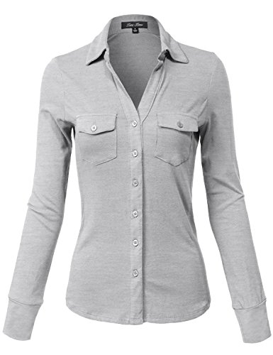 Side Rib Panel Slim Fit Cotton Plain Button Down Shirts,140-heather Grey,Small