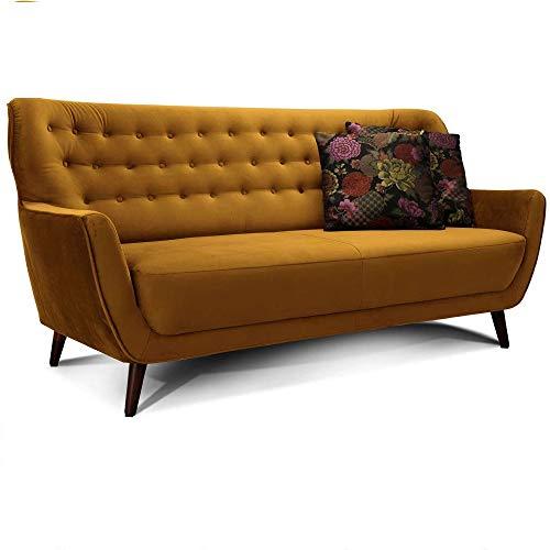 CAVADORE 3-Sitzer-Sofa Abby / Retro-Couch im Samt-Look mit Knopfheftung / 183 x 89 x 88 / Samtoptik, gold