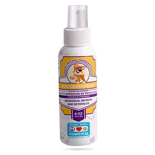 Pawtitas Hondendeodorant Spray een vers parfum met langdurige geur op uw puppyjas | Parfum voor honden en puppy's met essentiële oliën - 8 oz lavendel- en kamillehond Keulen.