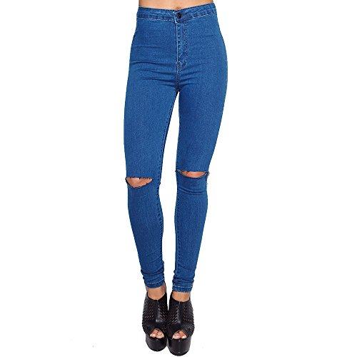 SCO Damen Skinny Tube Stretch High Rise Taille Jeans Damen Slim Fit Bequem Denim Hose (12, Blau Ripped Knee)