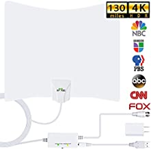 HDTV Antenna,130 Miles Long Range Indoor Digital HDTV Antenna with 2020 New Amplifier Signal Booster Free Local Channels 4K HD 1080P VHF UHF All TV's - 16.5ft Coaxial Cable