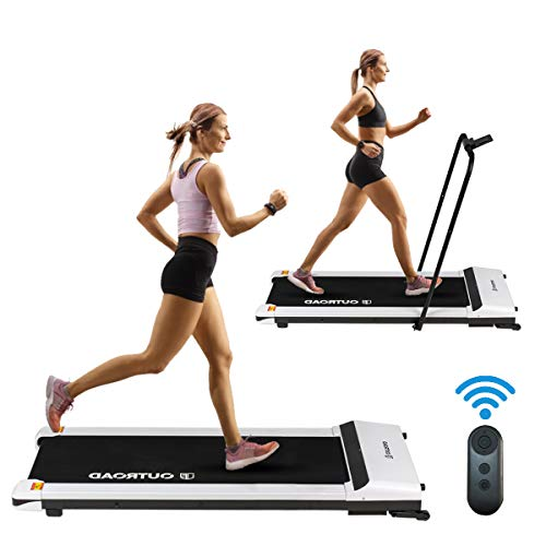 Outroad 2 in 1 Electric Folding Treadmill, Under Desk Walking Treadmill with LED Display, Ipad/Phone Holder and Remote Control, Walking Jogging Machine for Home Office Use, White