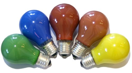 10 Bunte Glühbirnen 15W 15 Watt E27 Glühbirne Glühlampe blau rot gelb orange grün