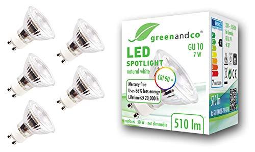5x greenandco® CRI90+ 4000K 36° LED Spot neutralweiß ersetzt 60 Watt GU10 Halogenstrahler, 7W 510 Lumen SMD LED Strahler 230V AC, nicht dimmbar, flimmerfrei, 2 Jahre Garantie