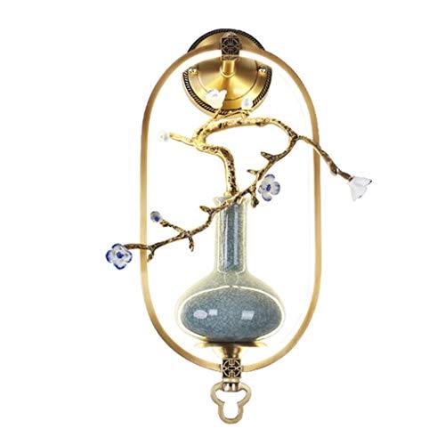 KGDC Lámpara de Pared Chino Lámpara de Pared de Cobre Florero de cerámica Lámpara de Pared Sala de Estar Dormitorio Escalera Fondo de Pared Lámpara de Pared Decorativa Creativa Aplique de Pare