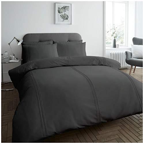 Gaveno Cavailia Dulwich Bettbezug, leicht zu pflegen, weich & gemütlich, Doppelbettgröße, Anthrazit, Polyester, 50prozent Baumwolle, Doppelbett