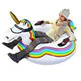 GoFloats Winter Snow Tube - Inflatable Toboggan Sled for Kids and Adults (Choose from Unicorn, Ice Dragon, Polar Bear, Penguin, Flamingo), ST-UNICORN-01