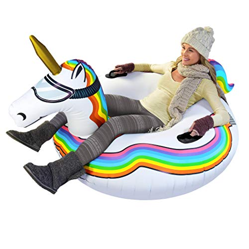 GoFloats Winter Snow Tube - Inflatable Toboggan Sled for Kids and Adults , ST-UNICORN-01