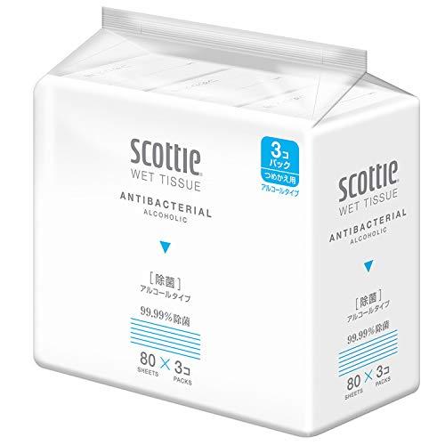 日本製紙クレシア スコッティ ウェットティシュー 除菌 詰替用 240枚 3コ入り