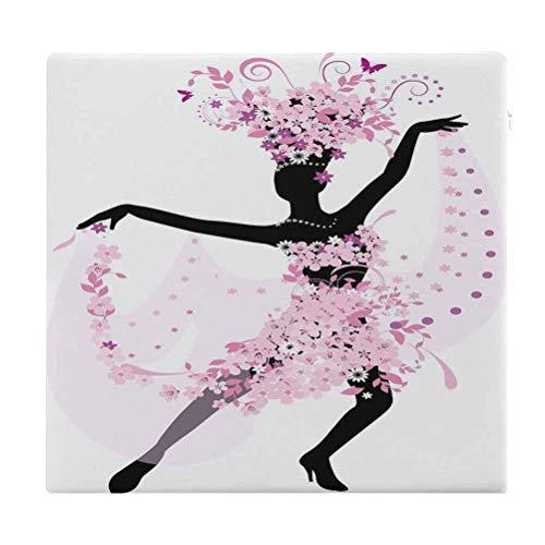 Cojines de asiento – Cojín cuadrado latino silueta de una mujer bailando samba salsa latina danzas latinas España y México Culture Print rosa negro