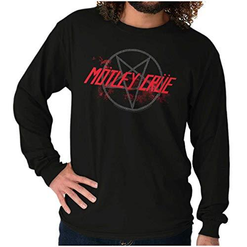 Brisco Brands Motley Crue Band Pentagram Logo Long Sleeve Tshirt Men Women Black