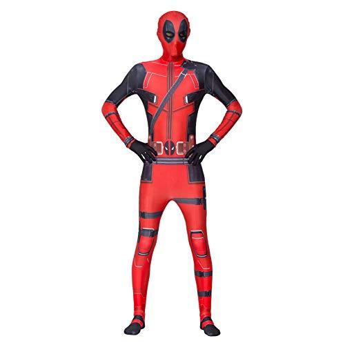 LINLIN Deadpool - Mono de Spiderman rojo con estampado 3D de Zentai, disfraz de superhroes para Halloween, disfraces para hombres, nios y adultos, L (175 ~ 185 cm)