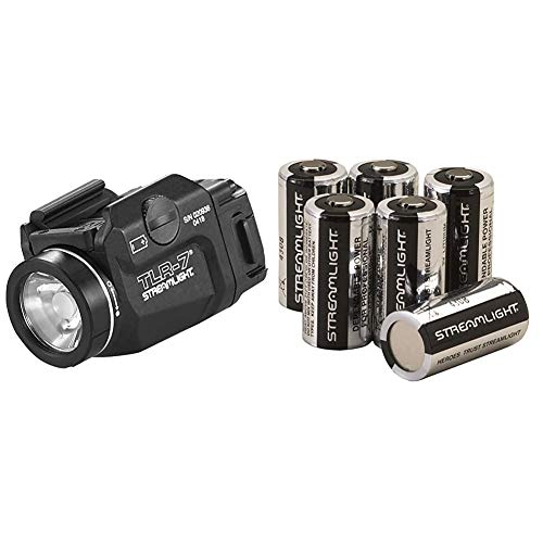 Streamlight 69420 TLR-7 Low Profile Rail Mounted Tactical Light, Black - 500 Lumens & 85180 CR123A Lithium Batteries, 6-Pack