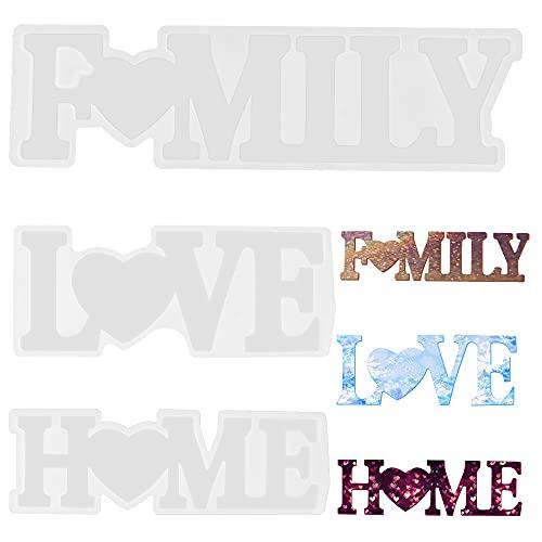 O-Kinee Stampi in Resina,Stampi in Silicone,3pcs Stampo in Resina Lettere, Love/Home/Family 3D Stampi,Kit di Stampo in Silicone,DIY Stampi per Resina Epossidica,Kit di Stampi per Decorazione