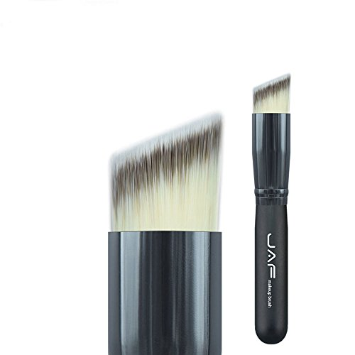 Family Needs Hoekige Multifunctionele gezicht make-up Brush Limpid Stichting Contour Powder Make Up Slant Brush Synthetische Taklon Vegan 16STA (Color : Black)