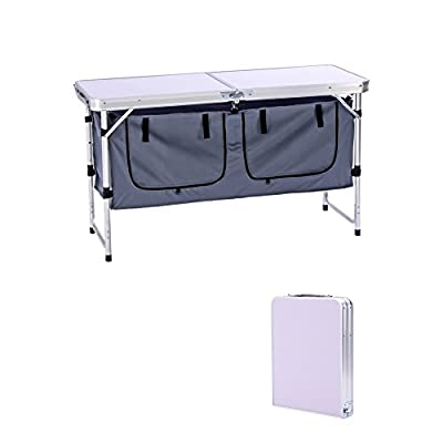 Camp Field Camping Table with Adjustable Legs for Beach, Backyards, BBQ, Party and Picnic Table ...