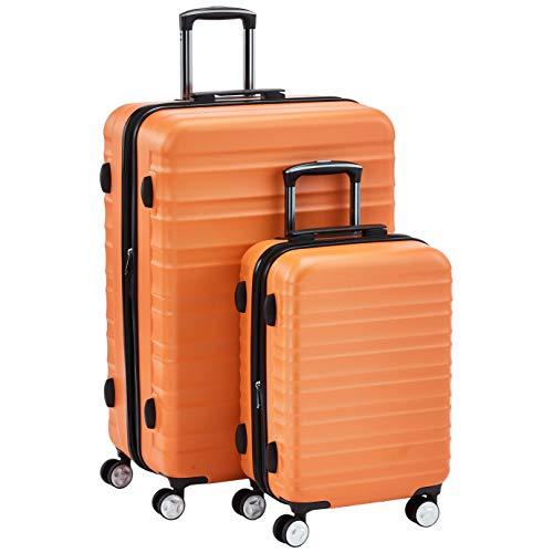 Hochwertiger Hartschalen-Trolley mit eingebautem TSA-Schloss und Laufrollen 2-Teiliges Set (55 cm, 78 cm), Orange