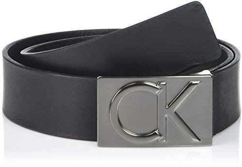 Calvin Klein Men's Logo Buckle Belt, Black Matte Gunmetal, 34
