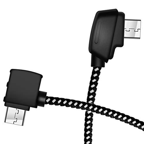 Hanatora 8.14 Inch Nylon Braided Remote Controller OTG Standard Micro-usb Tablet Cable for DJI Mavic Mini/Mavic 2 Pro Zoom/Mavic Air/Mavic Pro Platinum, Android Data Connector Cord(Standard Micro USB)