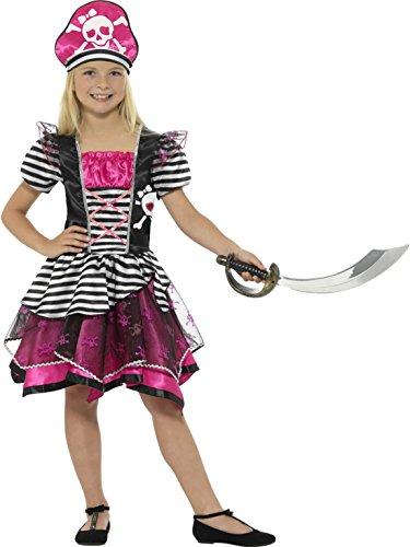 Luxuspiraten - Buntes Mädchen Kinder Piratenkostüm Pirantenbraut Piratin mit Hut, 140-152, 10-12 Jahre, Pink