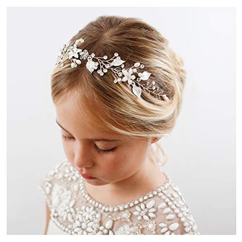 SWEETV Silber Blume Mädchen Haarreife Prinzessin Hochzeit Haarbänder - Baby Mädchen Blume Perle Zubehör für Haare für Geburtstag Party, Fotografie
