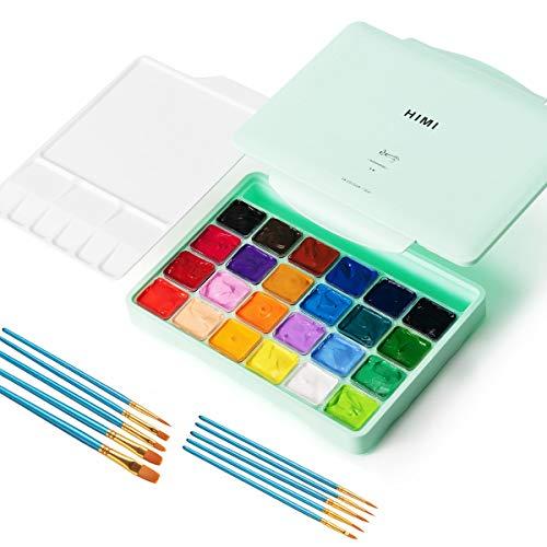 Gouache Paint Set, 24 Colors x 30ml Unique Jelly Cup Design Gouache Opaque Watercolor Painting for Kids, Artists, Hobbyiest