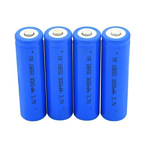 softpoint Batería De Iones De Litio En Punta Azul 18650, BateríAs De Litio Recargables De 3.7v 3000mah para Linterna 4pcs