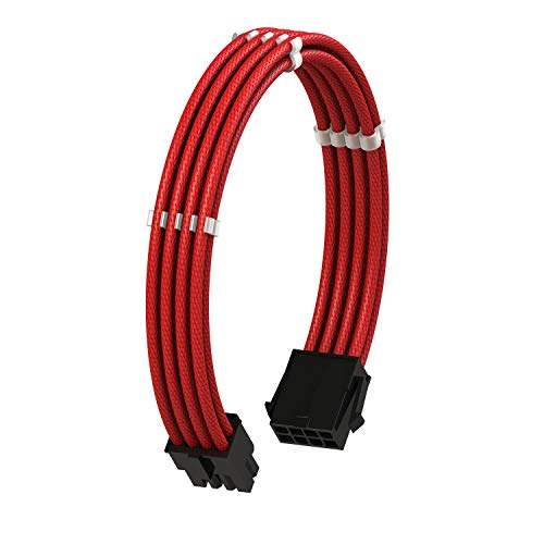 LINKUP - EPS 8 Pin (4+4) CPU ATX Motherboard PSU Power Supply Braided Sleeved Custom Mod PC Extension Cable w/Combs┃Strong & Stiff Design┃Single Pack┃30CM 300MM - Red