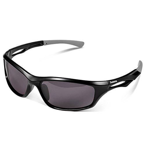Duduma polarisierte Sport-Sonnenbrille für Ski fahren/ Golf/ Laufen/ Radfahren, Tr90,superleichter Rahmen, für Männer und Frauen Gr. M, black frame with black lens