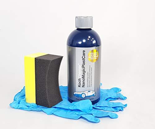 Koch Chemie Nano Magic Plast Care Kunststoffpflege + Clean 2 Reifenschwamm, Nitril-Handschuhe