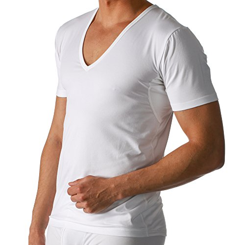 2er Pack Mey Herren Business Unterhemd – Größe 6 – Weiß - Drunterhemd – Unterhemd mit V-Ausschnitt – Shirt mit Einsätzen unter den Achseln – 46038 Dry Cotton Functional