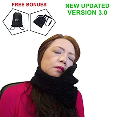 Travel Pillow-Travel Scarf Neck Pillows for Stiff Neck-Head-Support-Pillow for Travel-Mirofiber Velvet-ALLERGY FREE-Best Pillow for Airplane Travel-Foot-Rest&Bag BONUS Set,Travel Accessories Kit