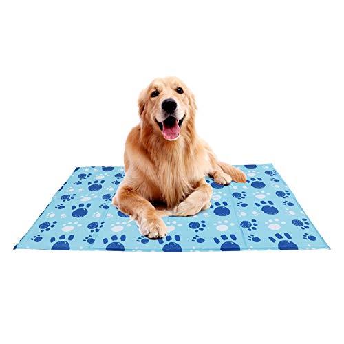 Wdmiya Kühlmatte für Hunde Katze | Wasserdicht Ungiftige Selbstkühlende Matratze für Haustier | Robust Hundebett Hundedecke Hundekissenfür Sommer | 70*120 cm, Blau