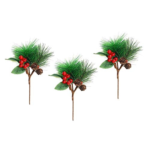 H HILABEE 3pcs/Set Red Berry Pine Cone Picks Christmas Party Corsage Party Dress Decor