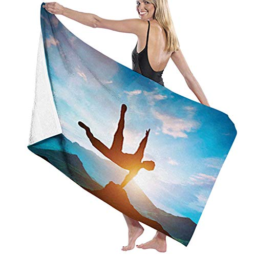 Microfiber Beach Towel Summer Swimming Printed Bath,Man Jumping Over Rocks Action Mountains Recreation Scenic Sunset Landscape Image,Travel Towels Soft Quick Dry Absorbent1