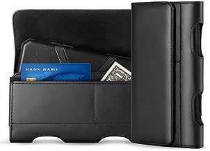 Mopaclle LG G6 Holster Case, LG G5, LG G4, LG K10, K8,K7, LG K20 V, LG K20 Plus, LG V5, LG Grace Leather Belt Case with Clip/Loops Holster Pouch Belt Holder with a Slim Hard Case on - Black