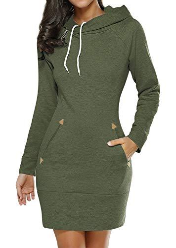 Edjude Vestido de Sudadera con Capucha de Mujer con Bolsillo de Manga Larga Deportiva Jersey Otoño Invierno Primavera Verde L