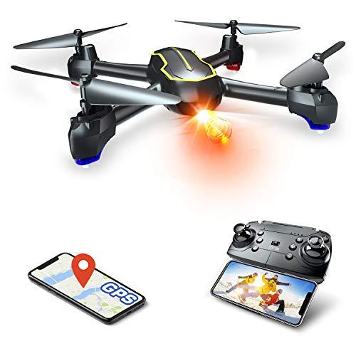 Asbww | Dron GPS con Cámara Full HD 1080p para Principiantes - Drone Cuadricóptero RC con Retorno Automático / Fotos y Vídeo HD 1080p / Transmisión en Tiempo Real FPV