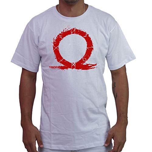 Camiseta Masculina God Of War PS4 Kratos Titãns Gaia Gamer Cor:Branco;Tamanho:G